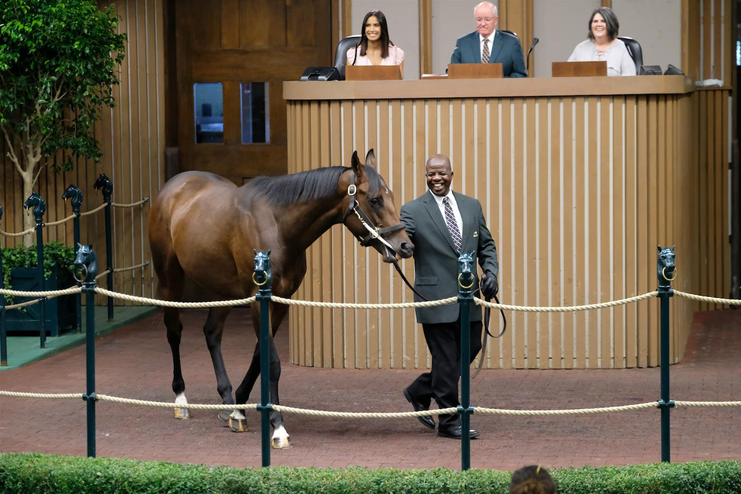 """A horse surprises the """"Top Chef"""" crew in the Keeneland sales ring."""