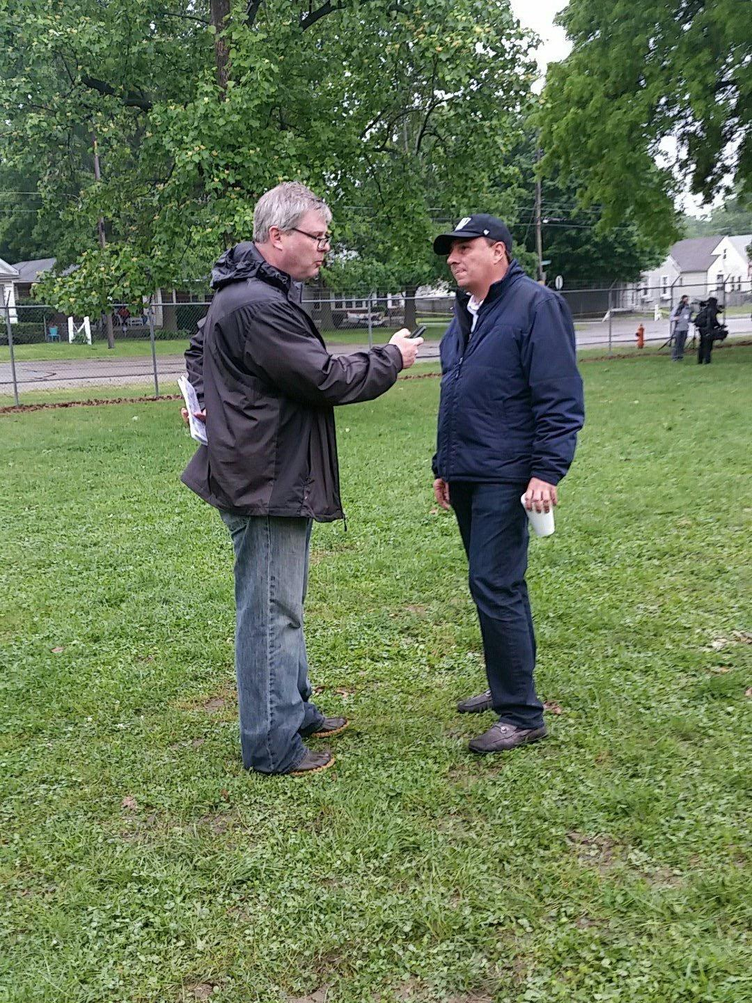 Kershner talks with trainer Antonio Sano.