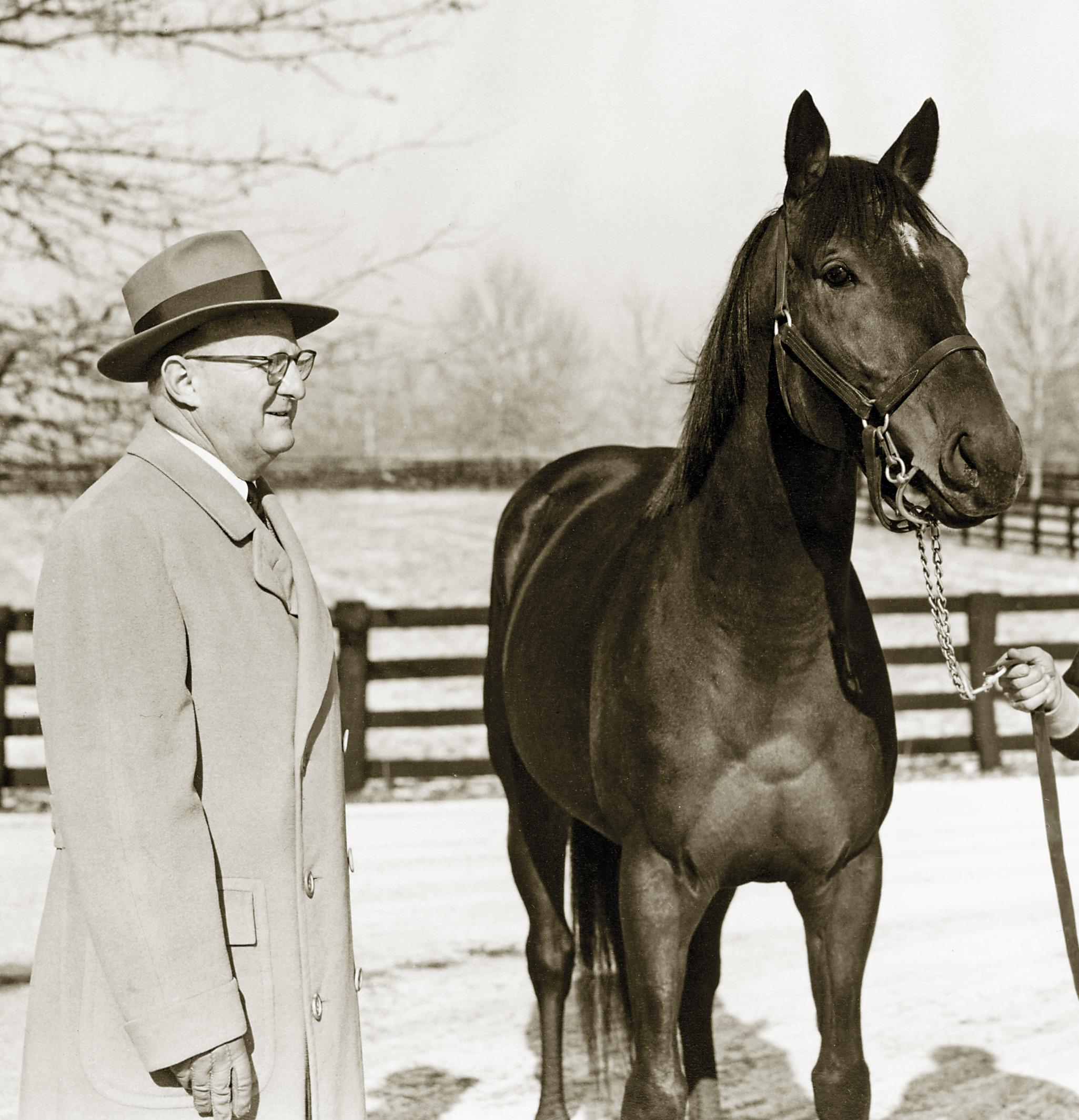 Spendthrift Farm owner Leslie Combs II with stallion Nashua.