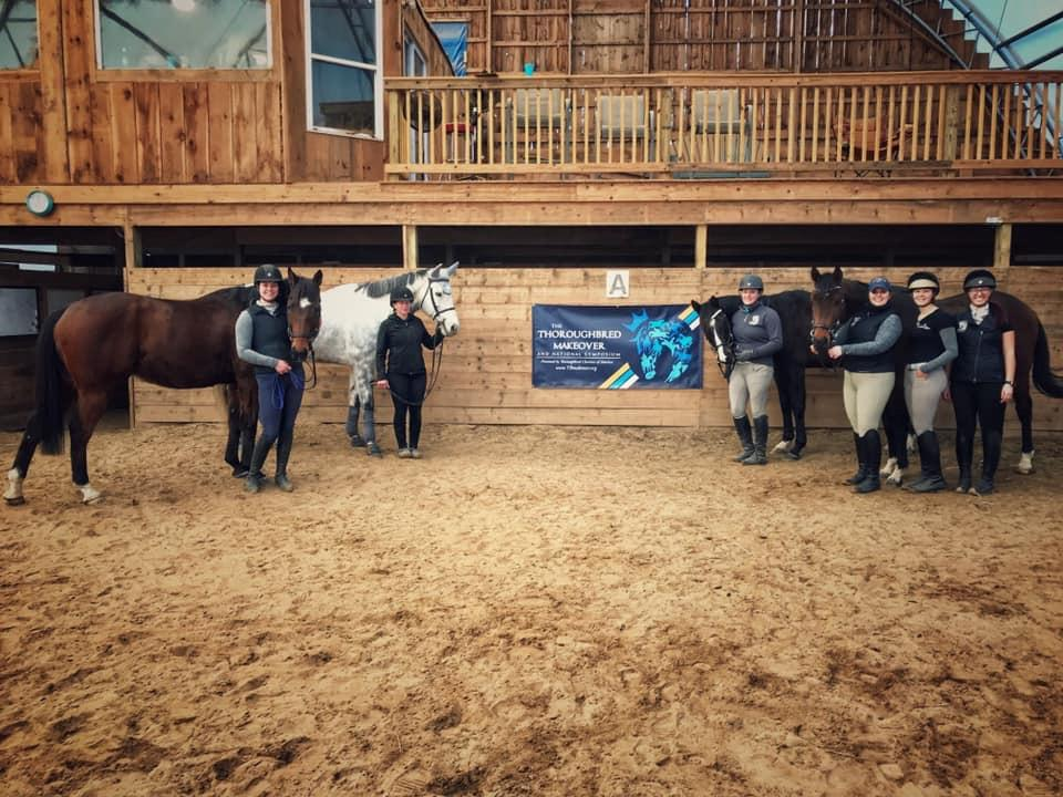 Fellow Makeover trainer Meghan Crout and her mount I Can and I Will, teammate Amber Cobb and Smokem's Charm, Sarah and Jacapo, and Katie, Skye-Anna, and Shannon and Daring Destiny