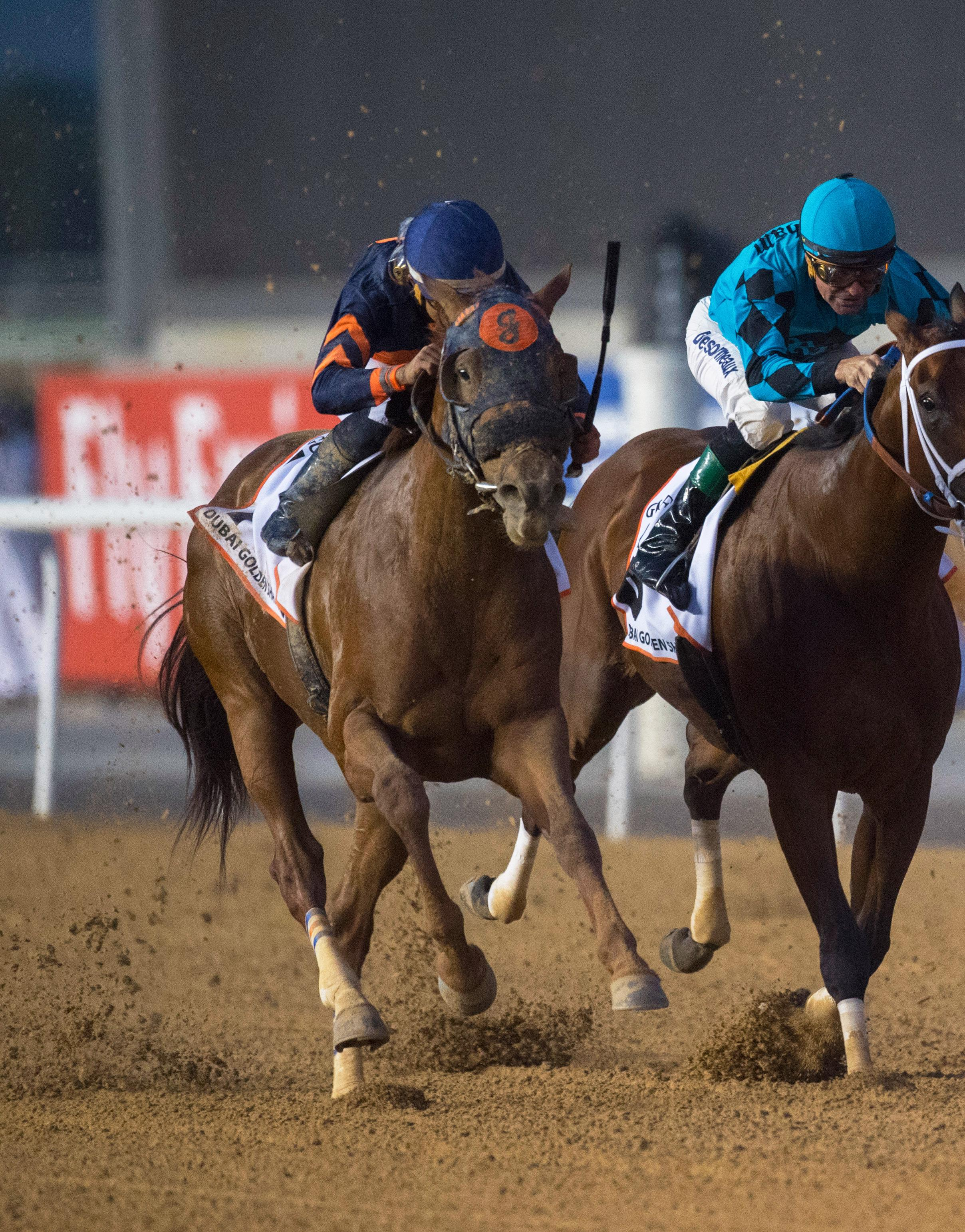 Mind Your Biscuits sweeps past his rivals in Dubai.