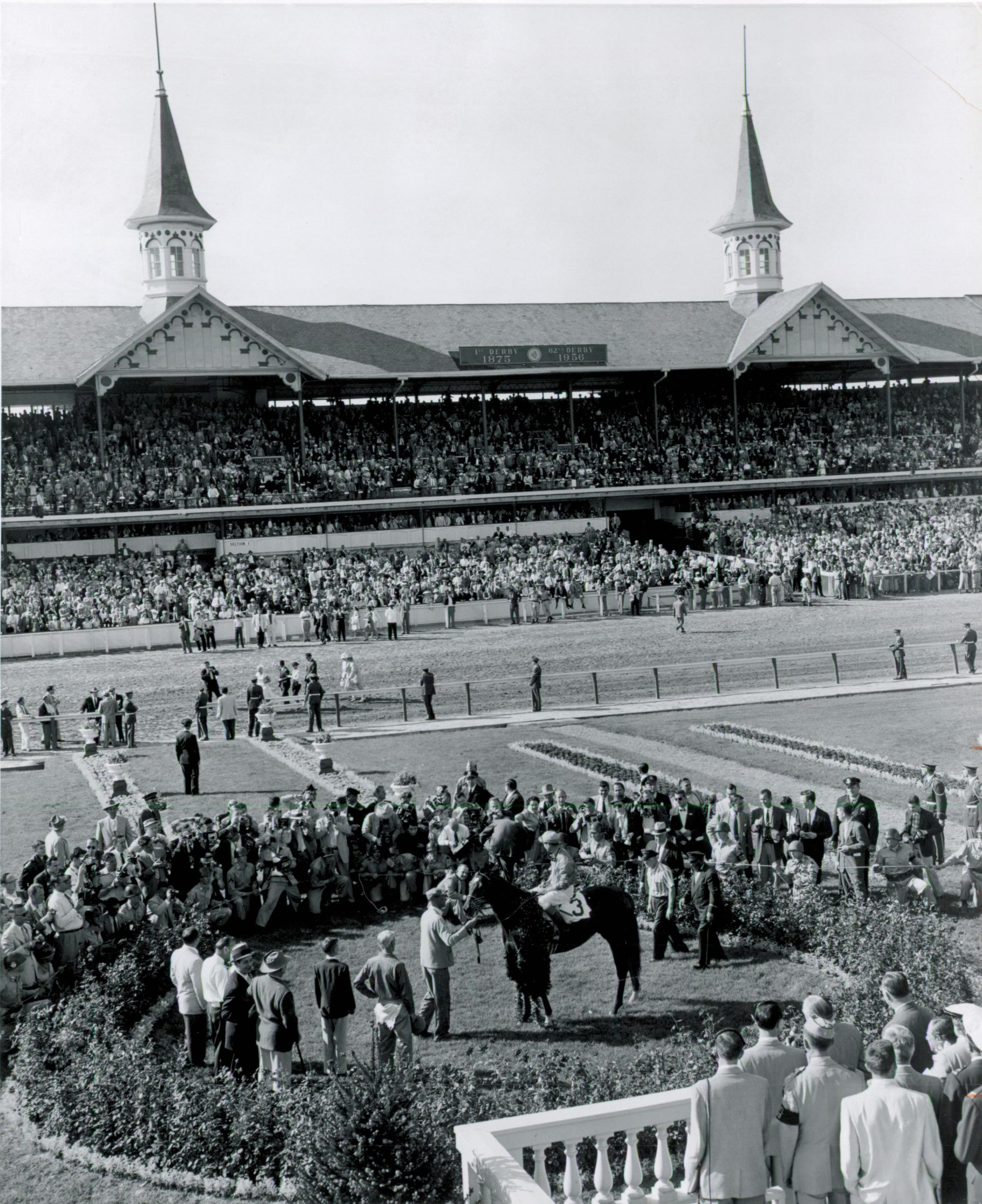 Needles in the Kentucky Derby winner's circle at Churchill Downs.