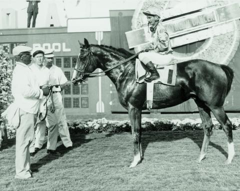 Northern Dancer and jockey Willie Shoemaker in the Gulfstream Park winner's circle after winning the Florida Derby.