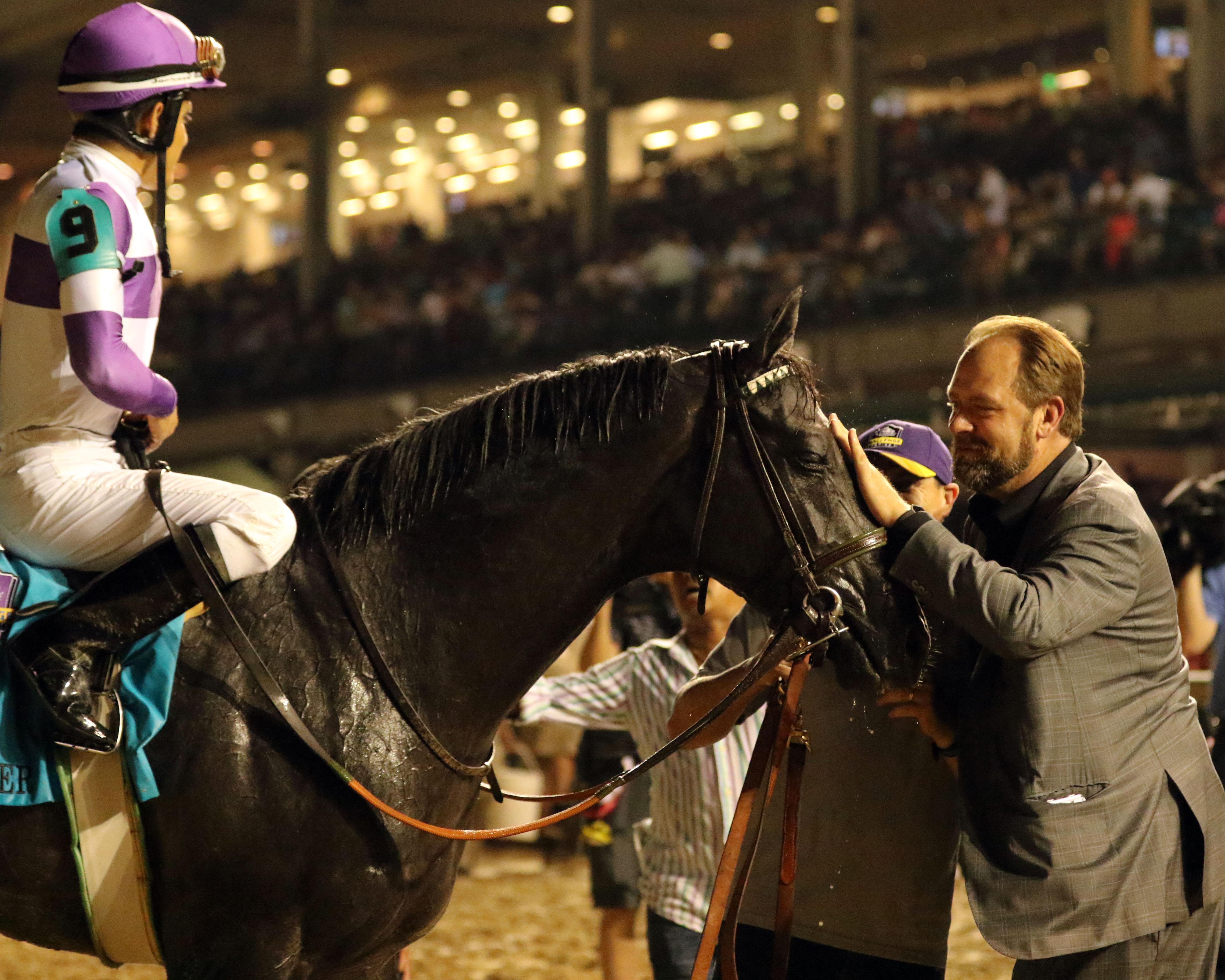 O'Neill pats Pavel after his win.