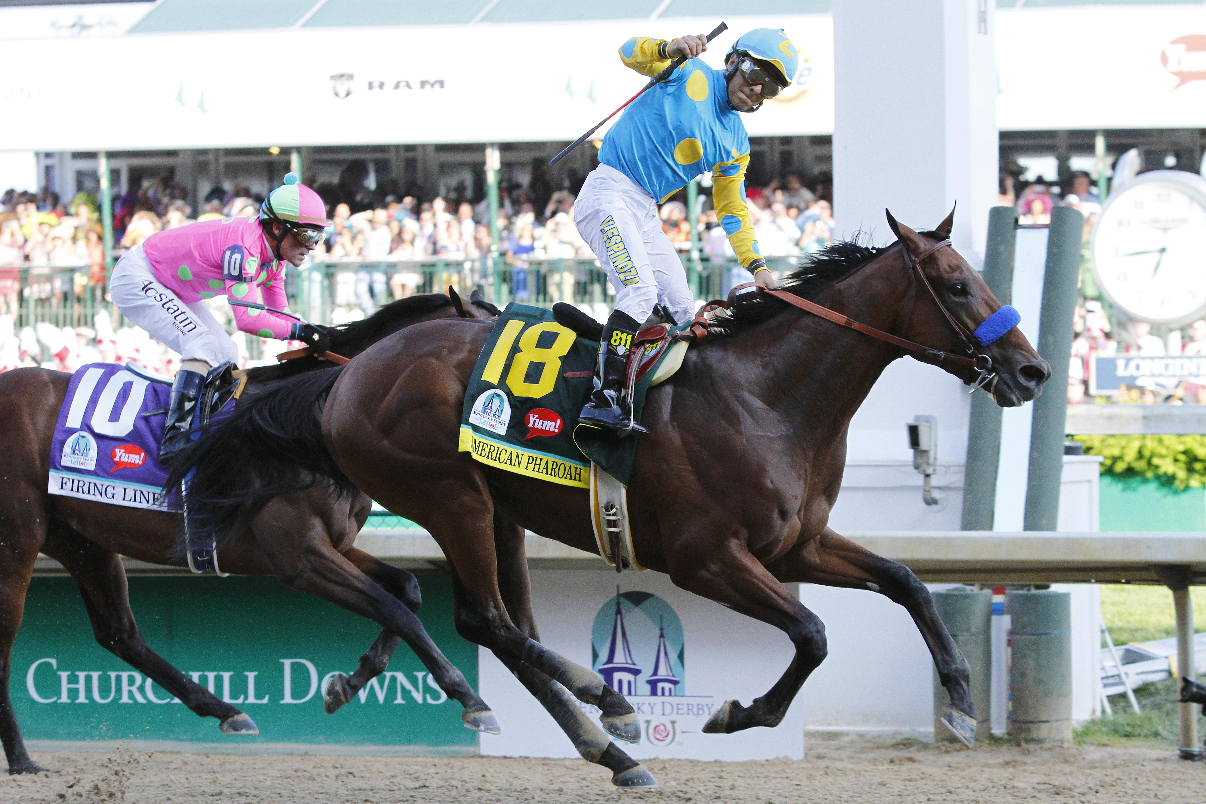 American Pharoah wins the 2015 Kentucky Derby after leaving post position 15 (three horses to his inside scratched).