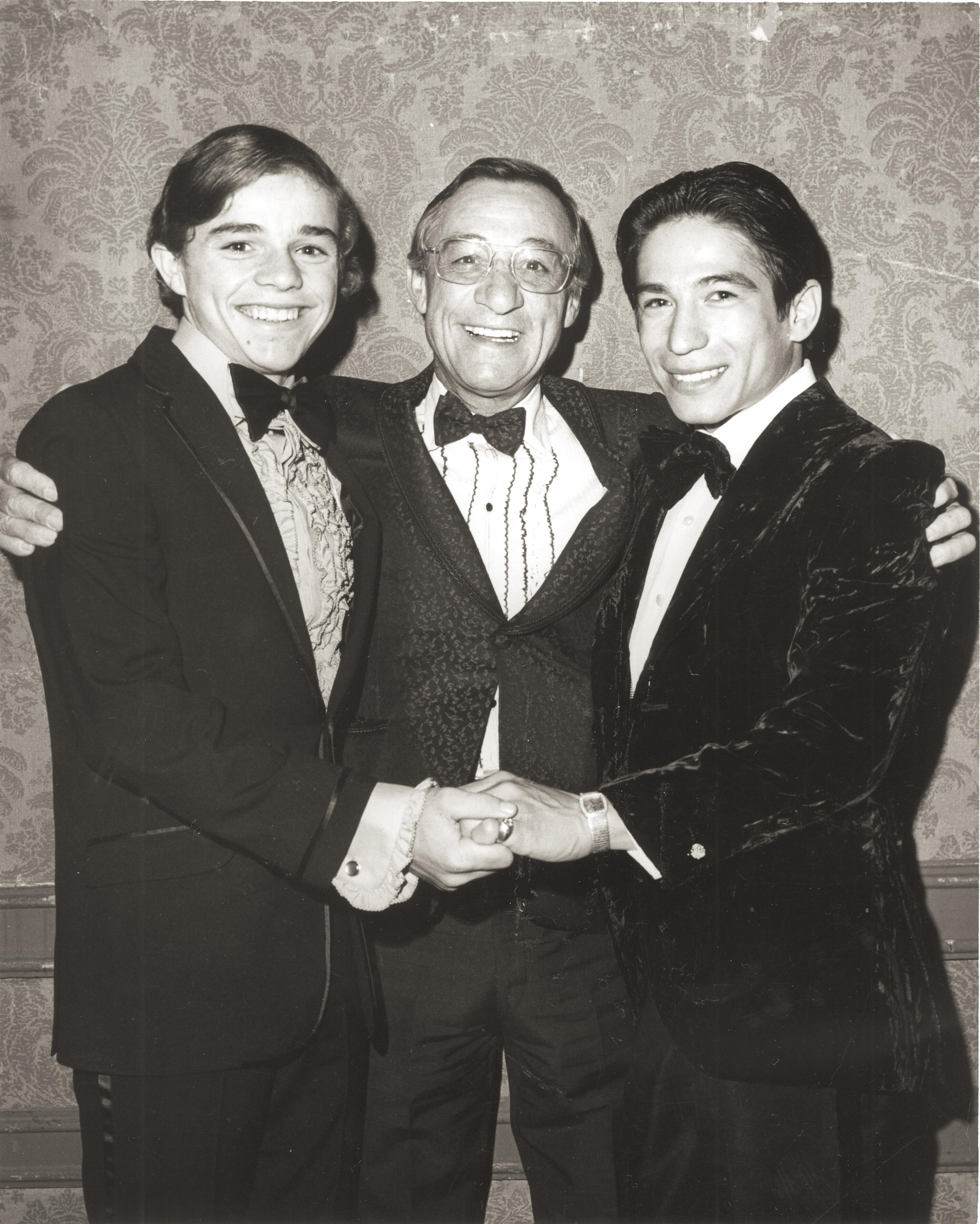 Pincay (right) with jockeys Gene St. Leon and Eddie Arcaro in 1972.