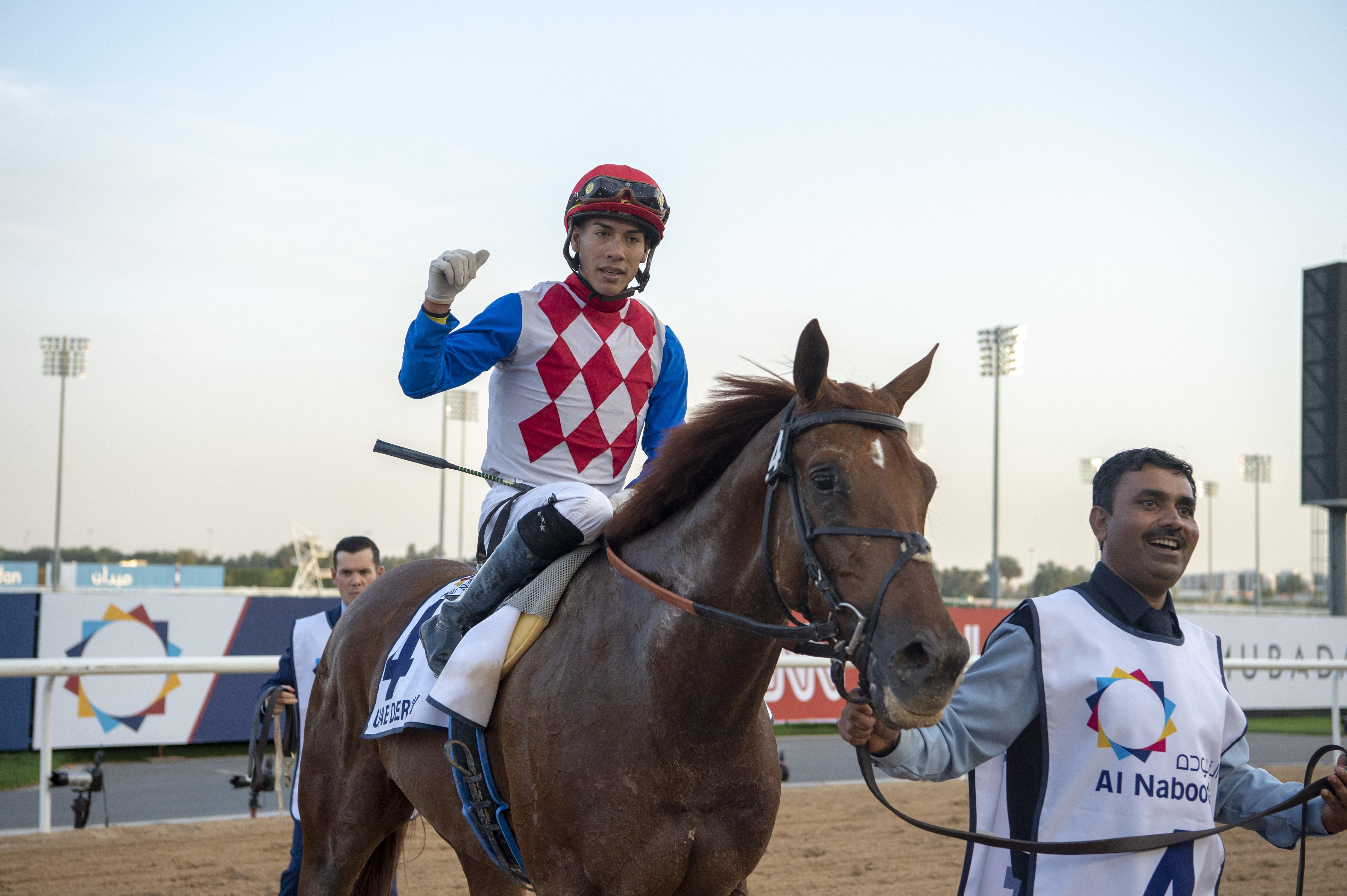 Plus Que Parfait enters the Meydan winner's circle.