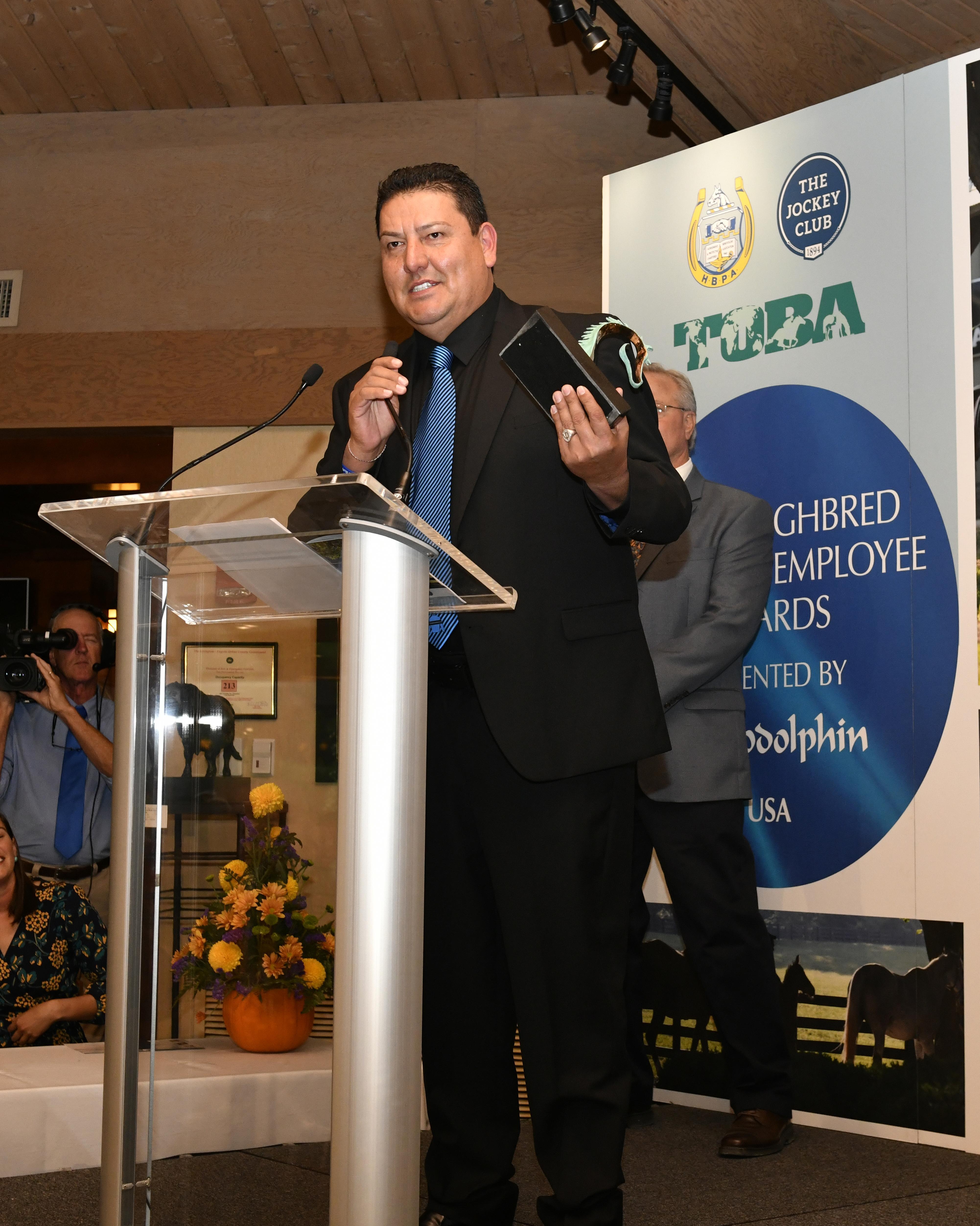 Saul Castellanos accepts his TIEA award.