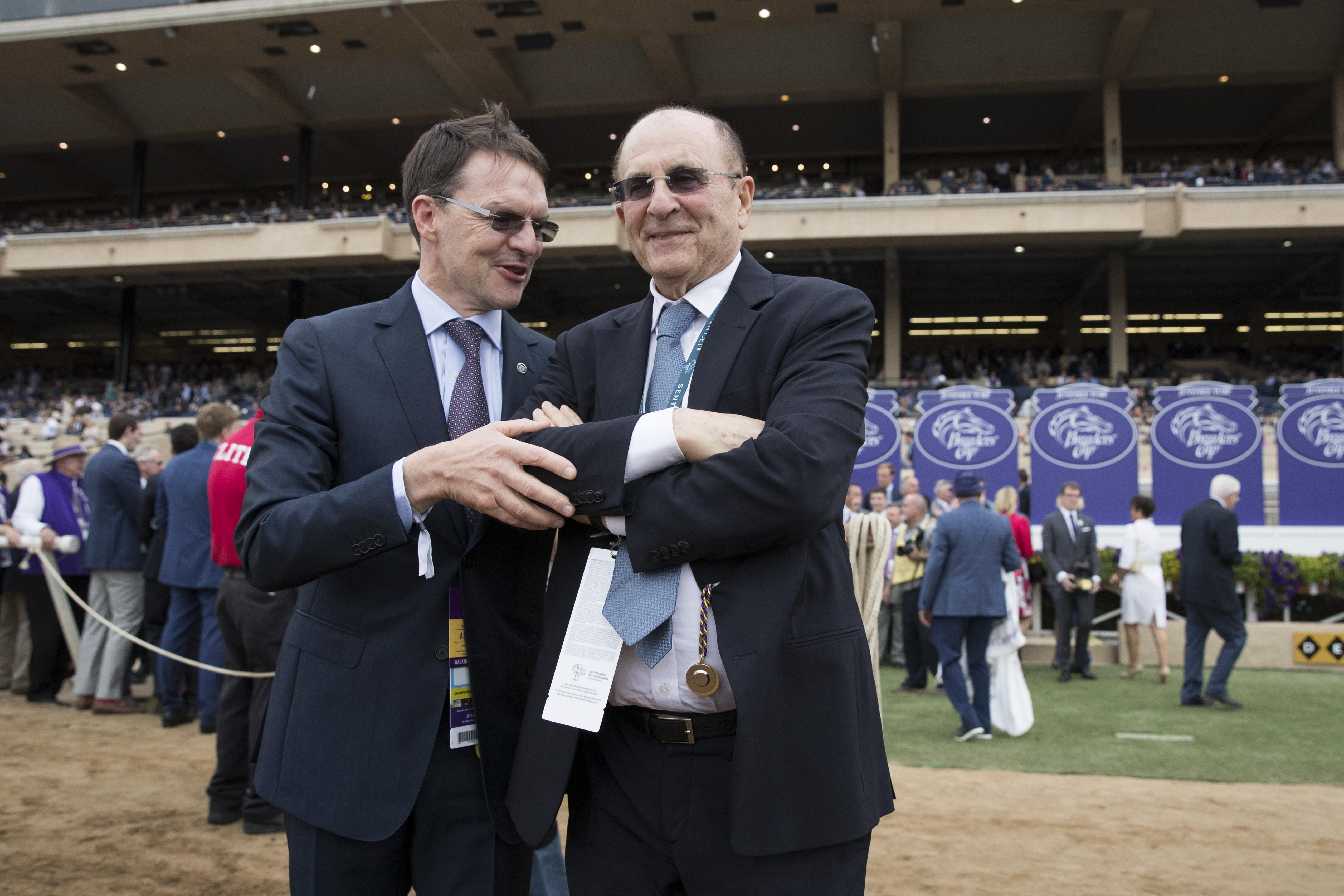 O'Brien and Tabor after Mendelssohn's Breeders' Cup win.