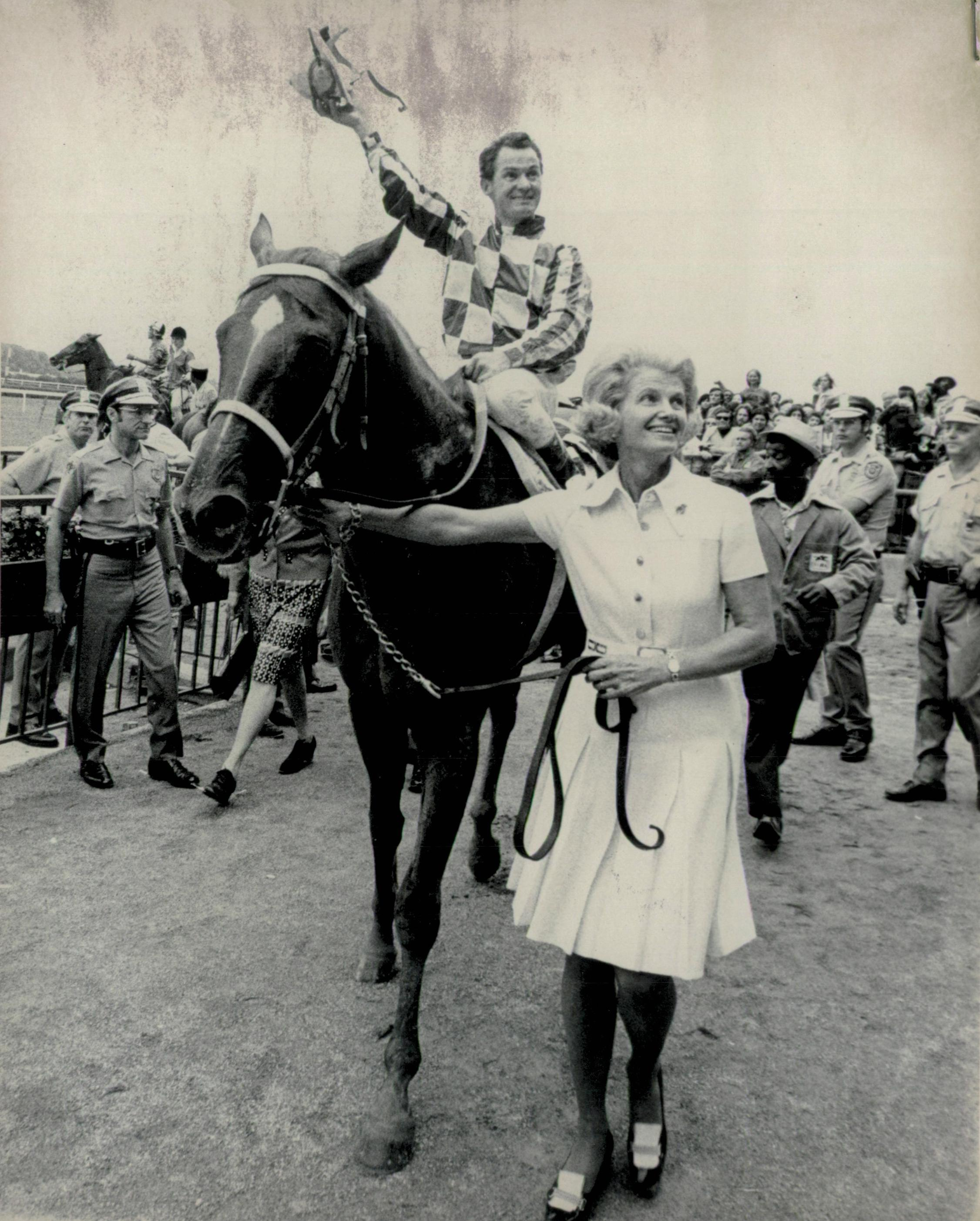 Turcotte, Penny Chenery, and Secretariat after winning the Marlboro Cup.