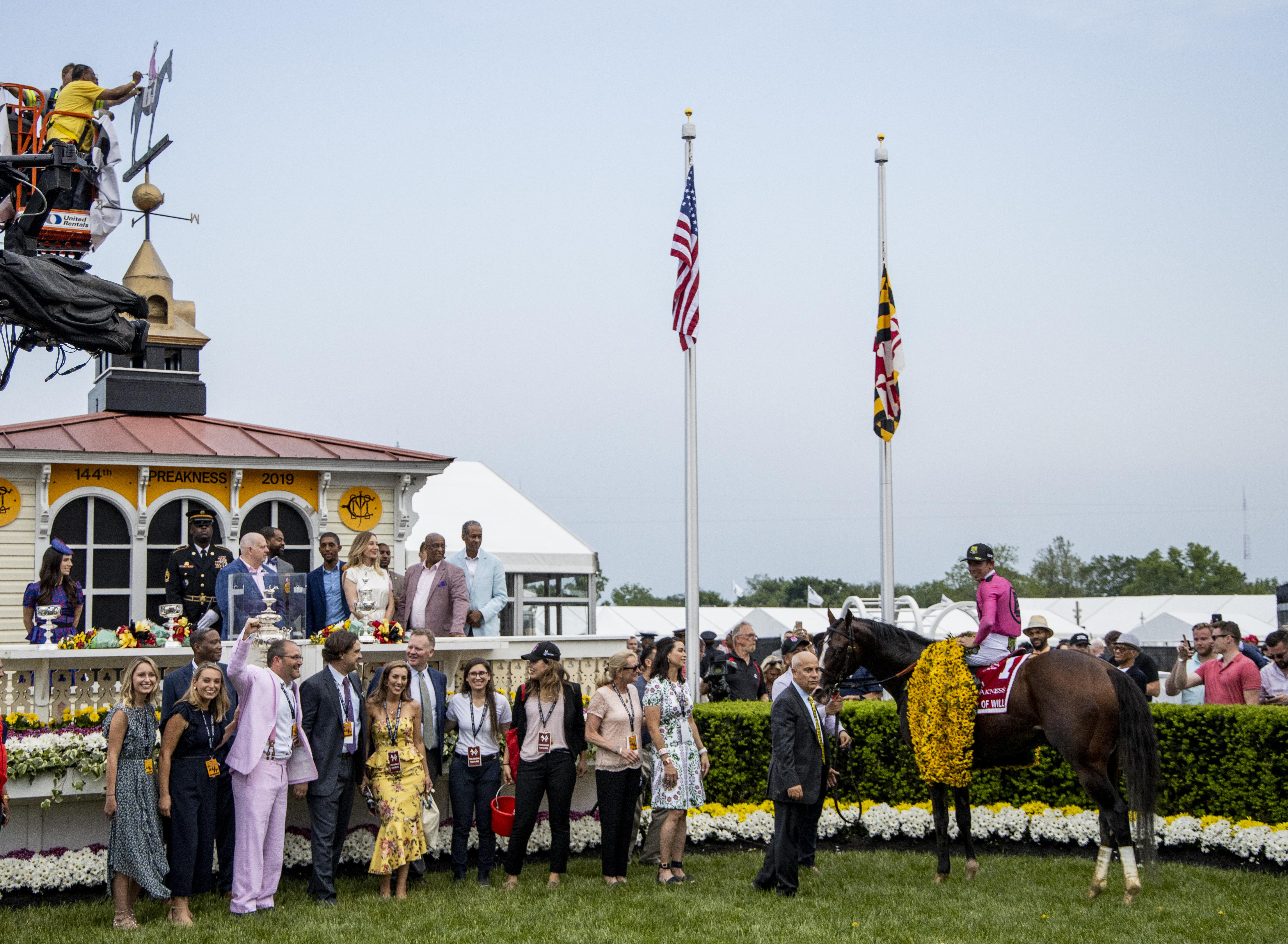 War of Will in the Preakness winner's circle.