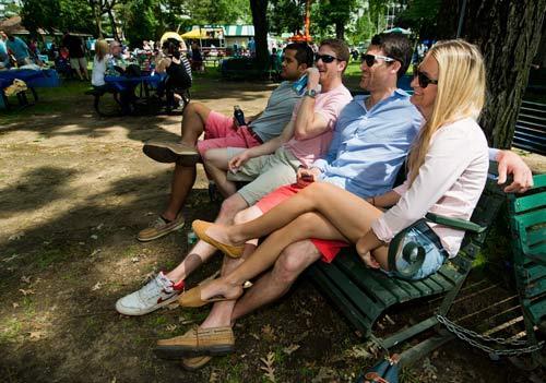 Fans in Belmont Park's backyard.