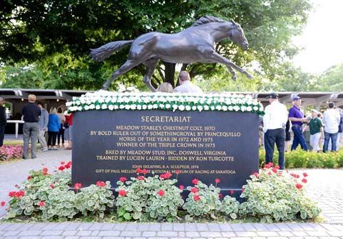 The Secretariat statue in the Belmont paddock.