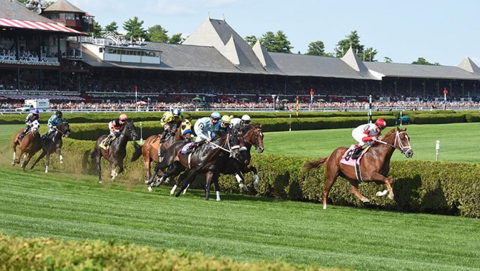 Horses race on the Saratoga turf.