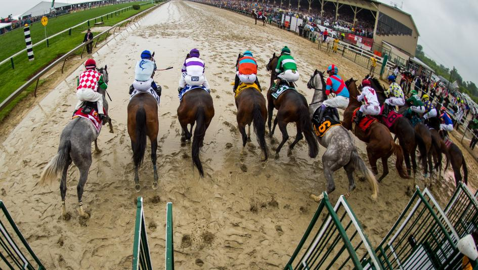 The 2016 Preakness Stakes Field Exits Starting Gate On A Rain Drenched Day At Pimlico With Eventual Race Winner Exaggerator Fifth From Left Off To