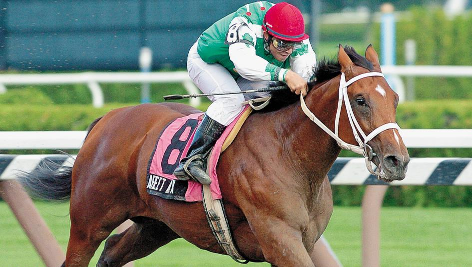 Afleet Alex and jockey Jeremy Rose win the 2004 Sanford Stakes, their first of many graded stakes wins.