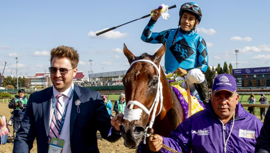 Brian Trump of Rockingham Ranch leads Roy H into the Breeders' Cup winner's circle.