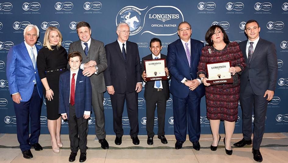 American Pharoah's human connections accept his 2015 award.