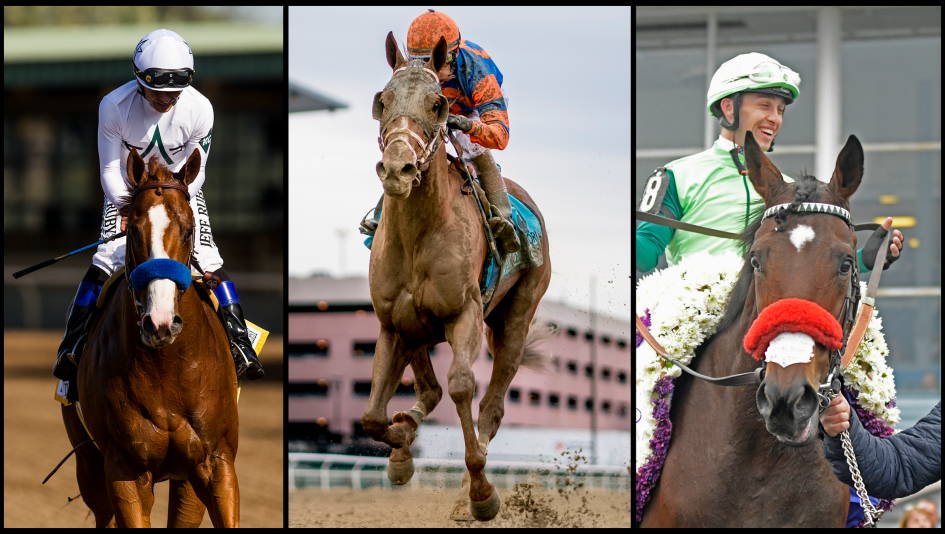 Kentucky Derby And Preakness Winner Justify Left Wood Memorial Stakes Vino Rosso Center Peter Pan Blended Citizen Right Are