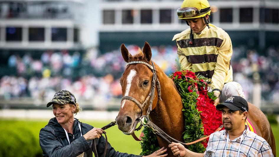 Country House sports the garland of roses after the 2019 Kentucky Derby.