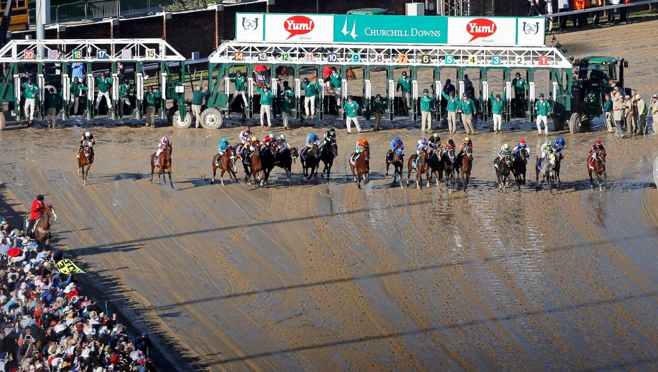 The field breaks from the gate in the 2017 Kentucky Derby.