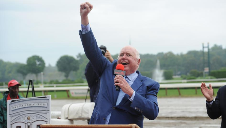 Retired longtime racecaller Tom Durkin will give tours of the National Museum of Racing and Hall of Fame again this summer.