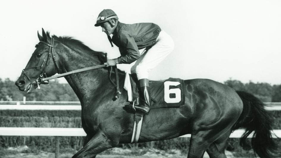 Dr. Fager and jockey Braulio Baeza before the 1968 United Nations Handicap.