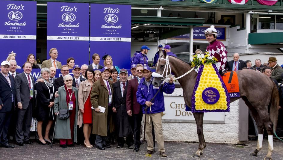 Chuck Zacney holds a strong hand with Breeders' Cup winner Jaywalk, pictured, and Maximus Mischief.