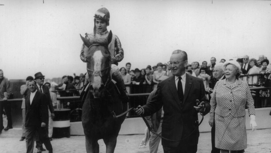 John Hay Whitney leads Stage Door Johnny into the 1968 Belmont Stakes winner's circle.