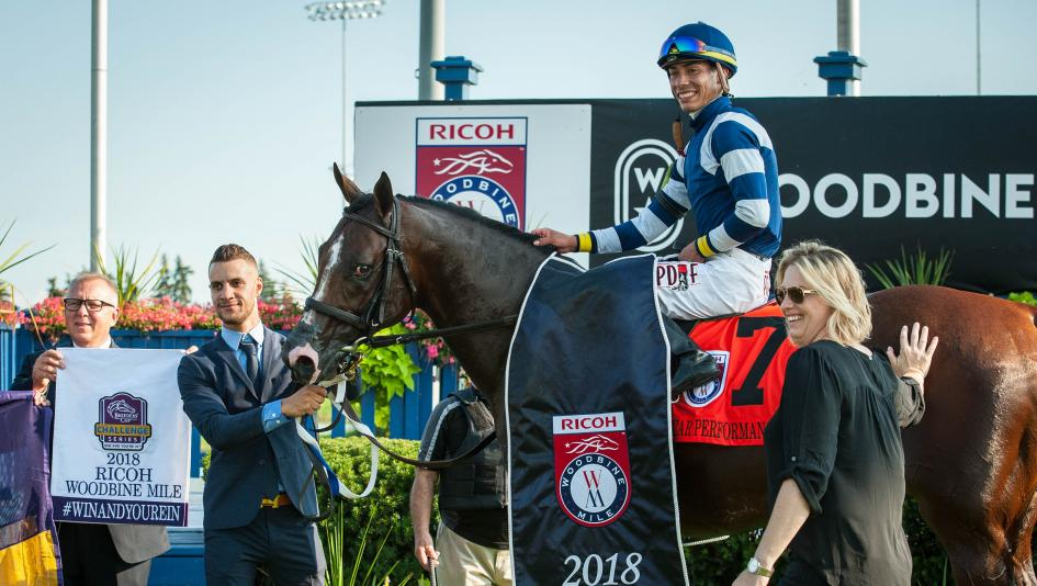 Jose Ortiz, pictured with Oscar Performance after the Woodbine Mile, has several live Breeders' Cup mounts this weekend.