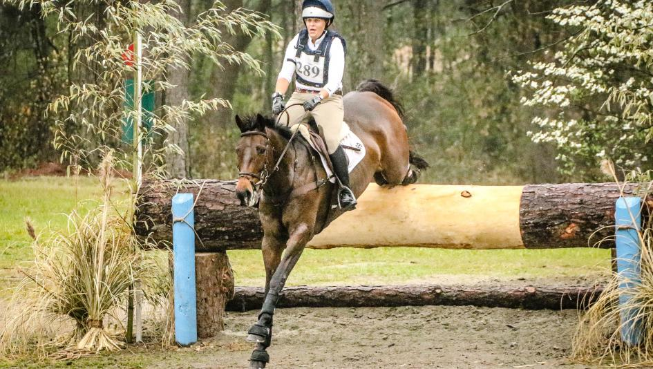 Joanie Morris, pictured with OTTB Four Schools, has spent her career in horse sports and is a big fan of off-track Thoroughbreds.