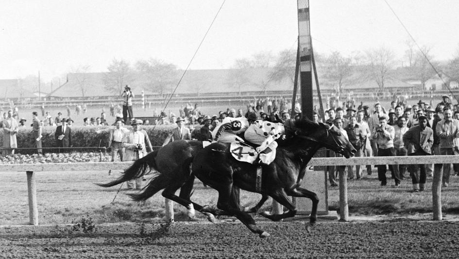 Eventual Horse of the Year Nashua wins the 1955 Wood Memorial.