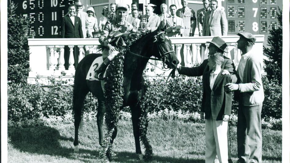 Needles in the 1956 Kentucky Derby winner's circle.