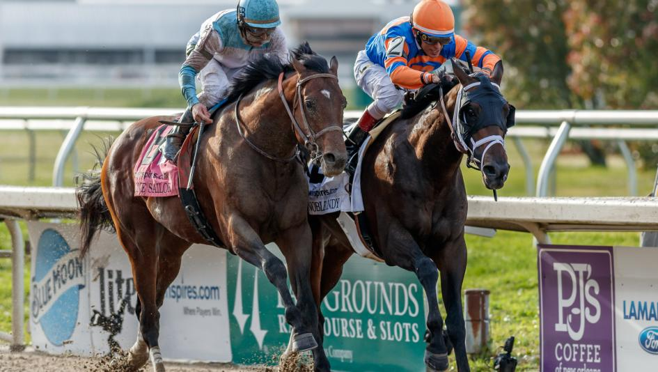 Noble Indy (right) and Lone Sailor race down the stretch of the 2018 Louisiana Derby.