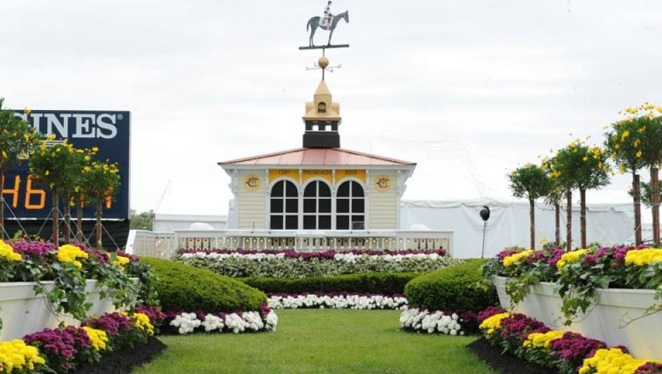 The infield winner's circle at Pimlico.