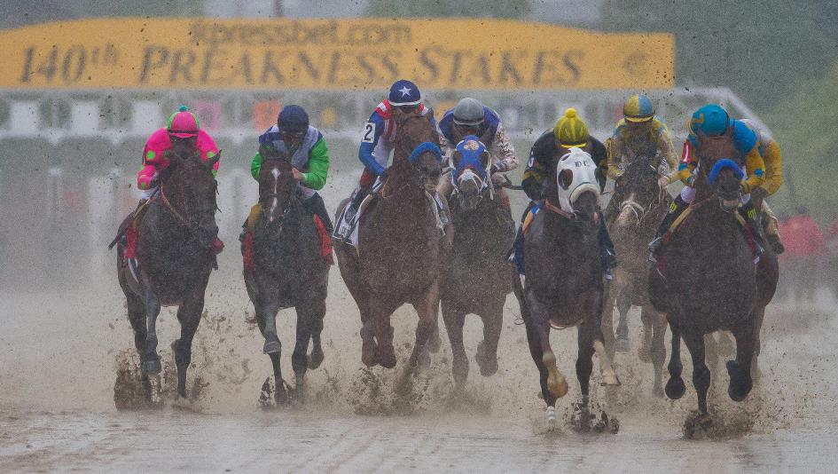 This year's Preakness Stakes could be just as muddy as the 2015 edition, won by American Pharoah.