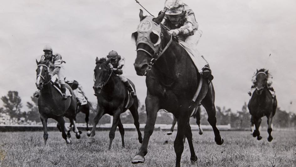 Round Table, pictured winning the 1958 Arlington Handicap with Bill Shoemaker aboard, was a champion on both dirt and turf.