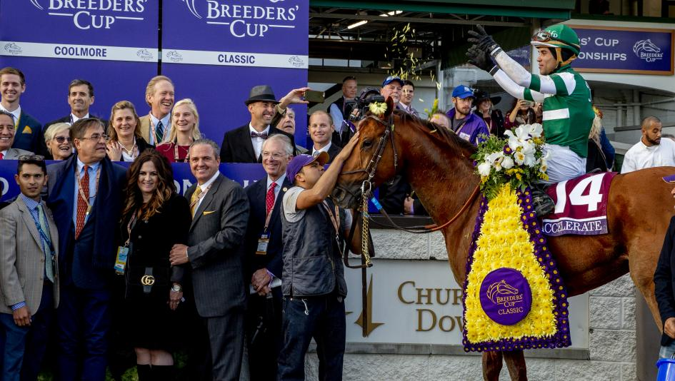 After many years of trying, trainer John Sadler (front row, second from left) won his first Breeders' Cup race with Accelerate.