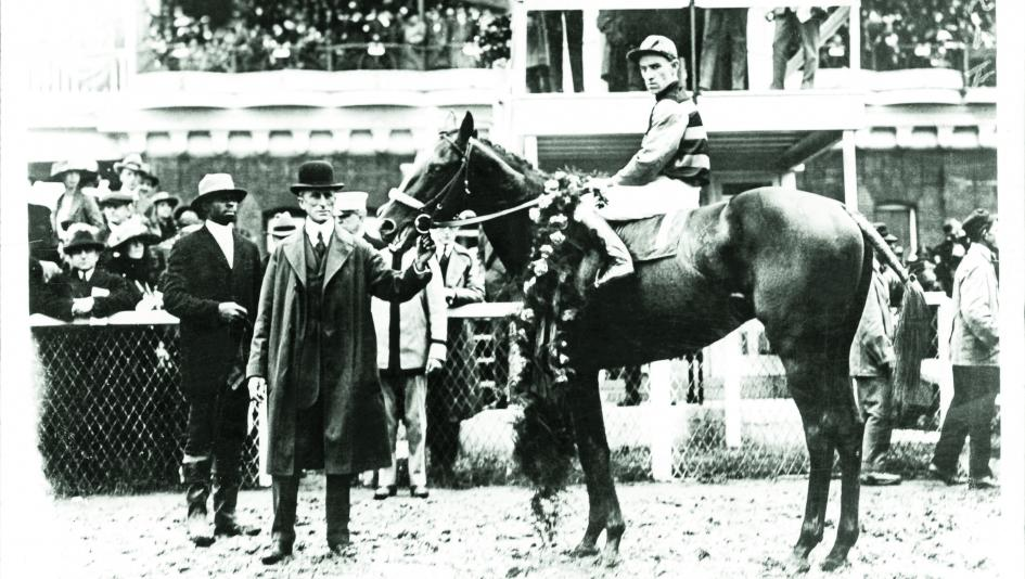 Sir Barton in the Kentucky Derby winner's circle.