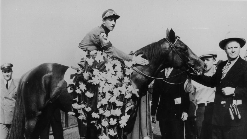 Whirlaway in the Belmont Stakes winner's circle.