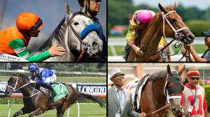 Clockwise from top left: Unique Bella, Monomoy Girl, Wonder Gadot, and Winx have all dazzled on the racetrack this season, but which star has shined brightest?