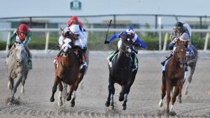 Tiz the Law (second from left) wins the Florida Derby and 100 Kentucky Derby qualifying points on Saturday.