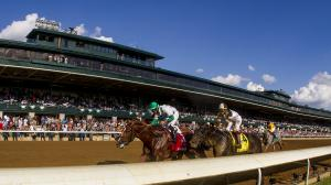 Racing at Keeneland, site of the Lexington Stakes on Saturday.