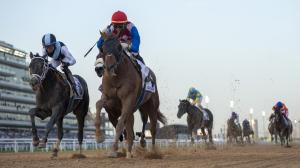 Plus Que Parfait weaved his way to victory, and a place in the Kentucky Derby, in the UAE Derby in Dubai.