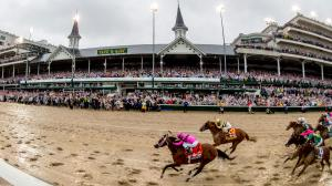 The field races for the wire in the Kentucky Derby.