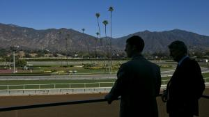 Fans enjoy Santa Anita Park, host of the Charles Whittingham Stakes.
