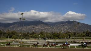 Racing at Santa Anita Park, host of the Robert B. Lewis Stakes on Saturday.