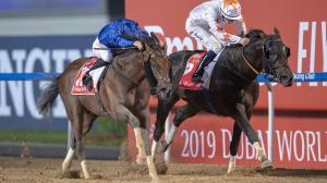 Thunder Snow (left) edges a resilient Gronkowski to win his second Dubai World Cup.