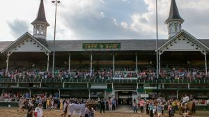 The twin spires on Stephen Foster day 2018 which featured an appearance by newly minted Triple Crown winner Justify.