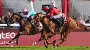 Waldgeist (right) runs down Enable to win the 2019 Prix de l'Arc de Triomphe andearn a place in the Longines Breeders' Cup Turf.
